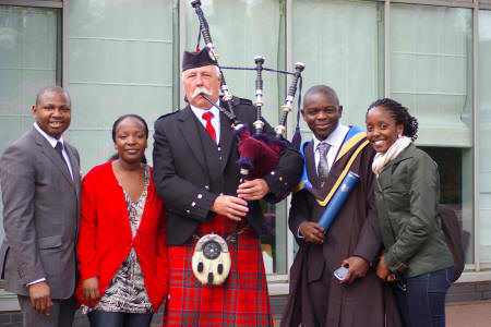 Bernie and familay at the Heriot Watt Graduation Ceromonies in June 2012 with Jim